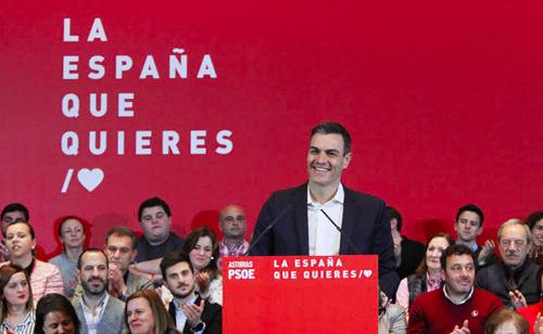 Pedro Sánchez, durante un mitin en Xixón. / FSA-PSOE