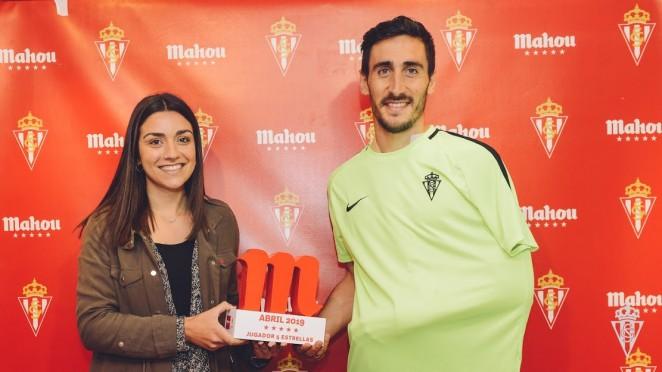 Diego Mariño recibió'l premiu como Xugador Cinco Estrelles del mes d'abril. Semeya: Pablo Albalá
