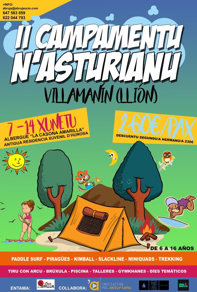 Cartelu promocional del campamentu de branu n'asturianu de Villamanín